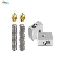 Anet A8 et A6 3D Imprimante Partie 2 pièces 0.4mm Extrudeuse Buse + 2 pièces 1.75mm Téflon Gorge Tube + 2 pièces Chauffage Blocs Hotend pour Mk8 Makerbot