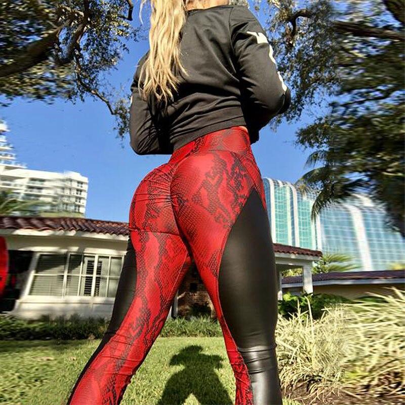 2019 de cuero de la PU de cuero estampado de piel de serpiente Fitness Leggings Sexy empalme las mujeres botín arriba Leggins negro flaco seco rápido Pantalones