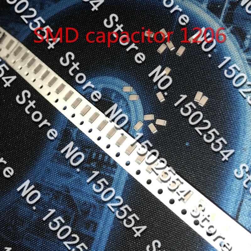 20 unids/lote condensador de cerámica SMD 1206 47UF 25V 476K 10% X7R condensador no polar 47UF cerámica MLCC