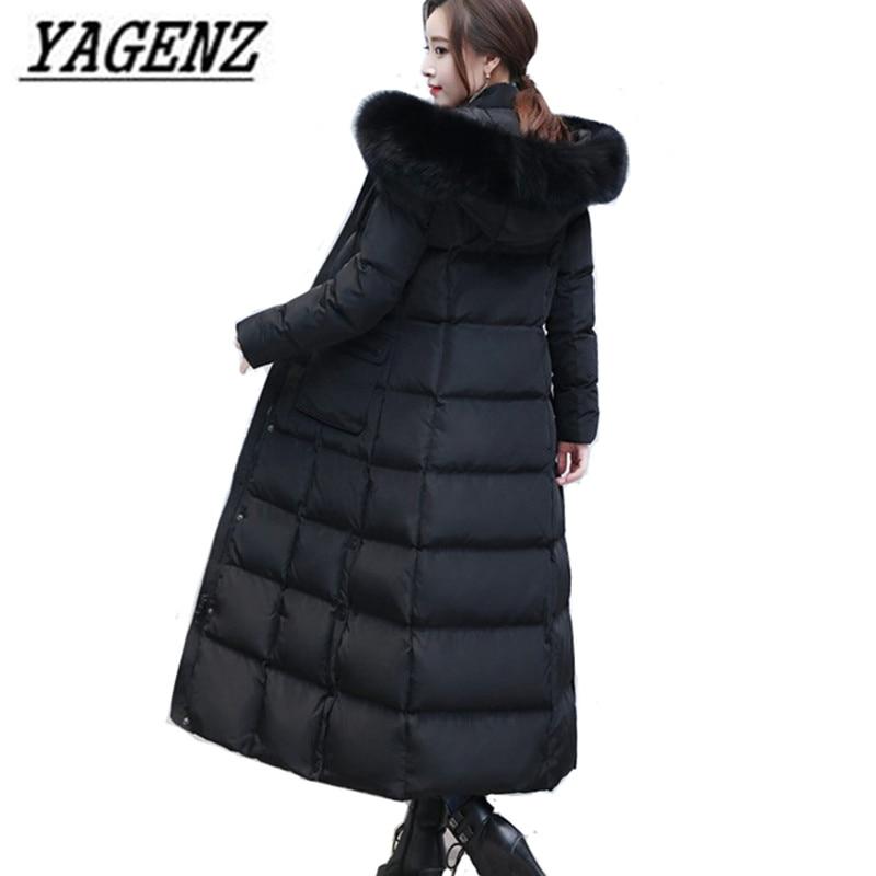 Chaqueta con capucha de invierno para mujer, abrigo de abrigo largo X de algodón con cuello de piel de zorro extraíble de alta gama, abrigos gruesos de abrigo 4XL