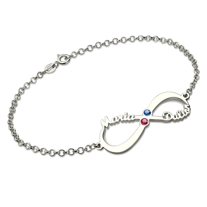 Venta al por mayor, pulsera personalizada con nombre de plata de nacimiento infinito, pulsera para la madre, piedra natal, joyería infinita