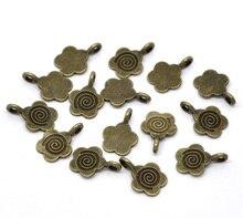 Envío Gratis 500 piezas bronce antiguo tono flor pegamento en libertad bajo fianza colgantes 15x11mm hallazgos de joyería al por mayor J0512F
