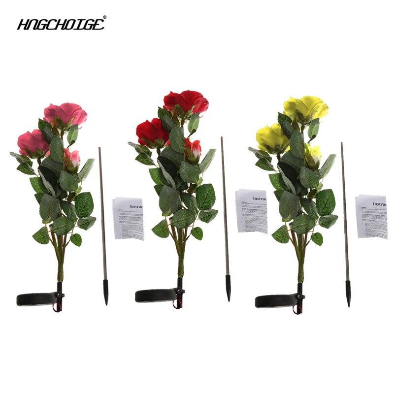 HNGCHOIGE 3 Movido A Energia Solar LED Rosa Flor Luz Da Noite Da Lâmpada Do Jardim Ao Ar Livre Decoração Do Partido