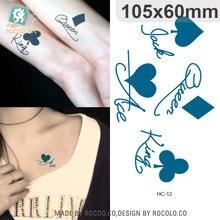 25 diseños pequeños Sexy Poker negro tatuaje temporal de dibujos animados lindo tatuaje de estrella, pegatina mujer dedo del cuerpo arte impermeable tatuaje chico