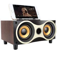 Haut-parleurs stéréo Bluetooth de haut-parleur sans fil en bois portables de bureau prennent en charge le lecteur MP3 TF avec la Radio FM, Support pour téléphone