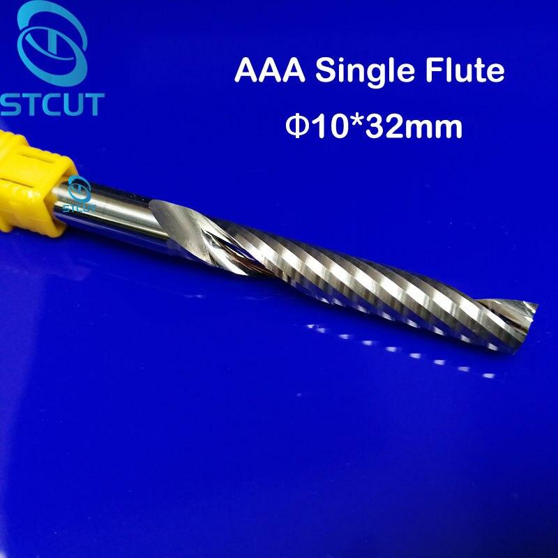 Herramientas de fresado CNC de una sola flauta de 10*32 MM, cortadores de grabado, brocas de tallado de madera, cuchilla de taladro para cortar MDF, acrílico, Plástico
