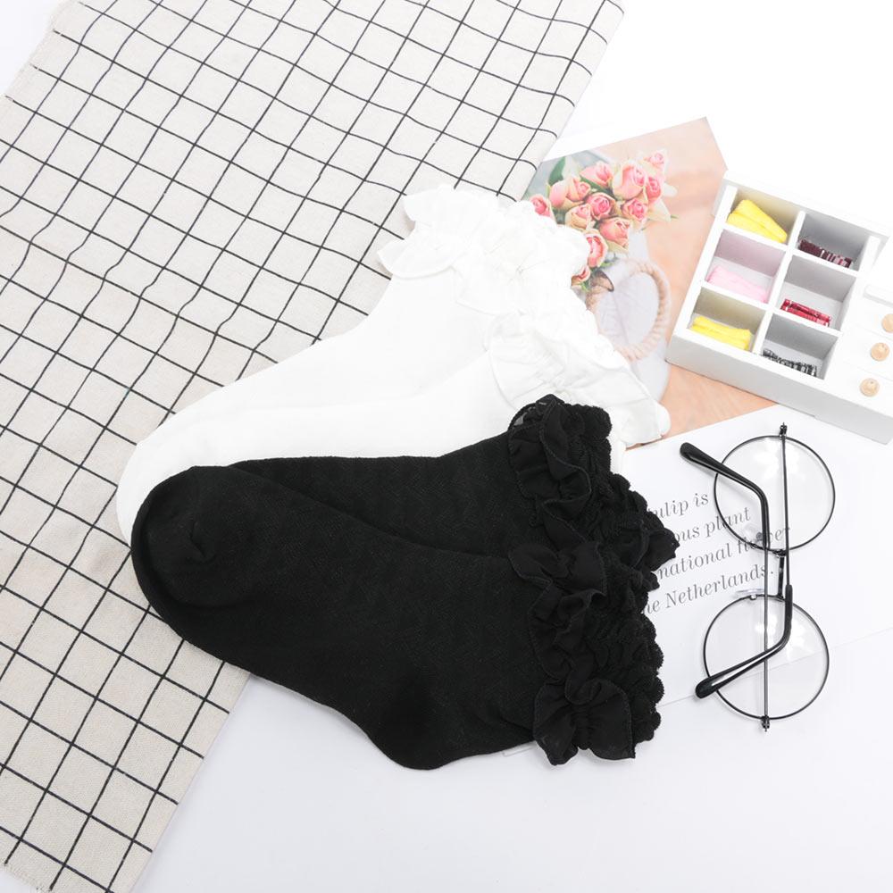 1 par feminino rendas plissado frilly tornozelo meias hollow harajuku adorável vintage retro froral senhora branco princesa