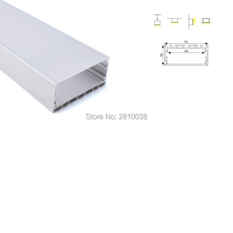 50 X 2M Sets/Lot New arrival profile aluminium led super wide U style led aluminum profile housing for embedded ceiling lamp
