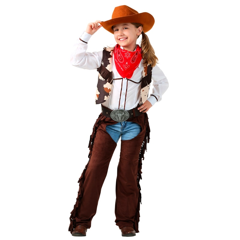 Disfraz de Cowgirl Chaps para niños, 6 unids/set, disfraces de Cosplay para montar, ropa para juego de rol