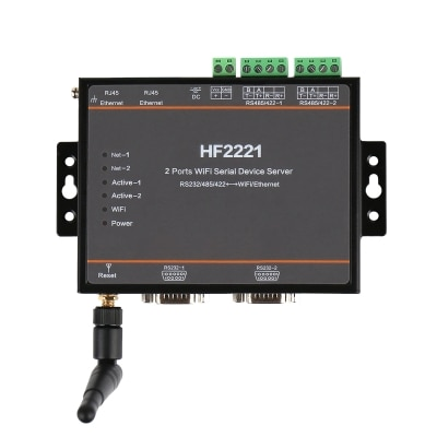 خادم جهاز تسلسلي واي فاي 2 منفذ HF2221 RS232/RS422/RS485 إلى خادم تسلسلي إيثرنت/واي فاي F22500