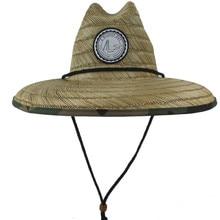 Women Men Straw Summer Beach Sun hat Outdoor Summer Wide Brim Handmade Camouflage Jazz Panama Kahuna Straw Lifeguard Hat