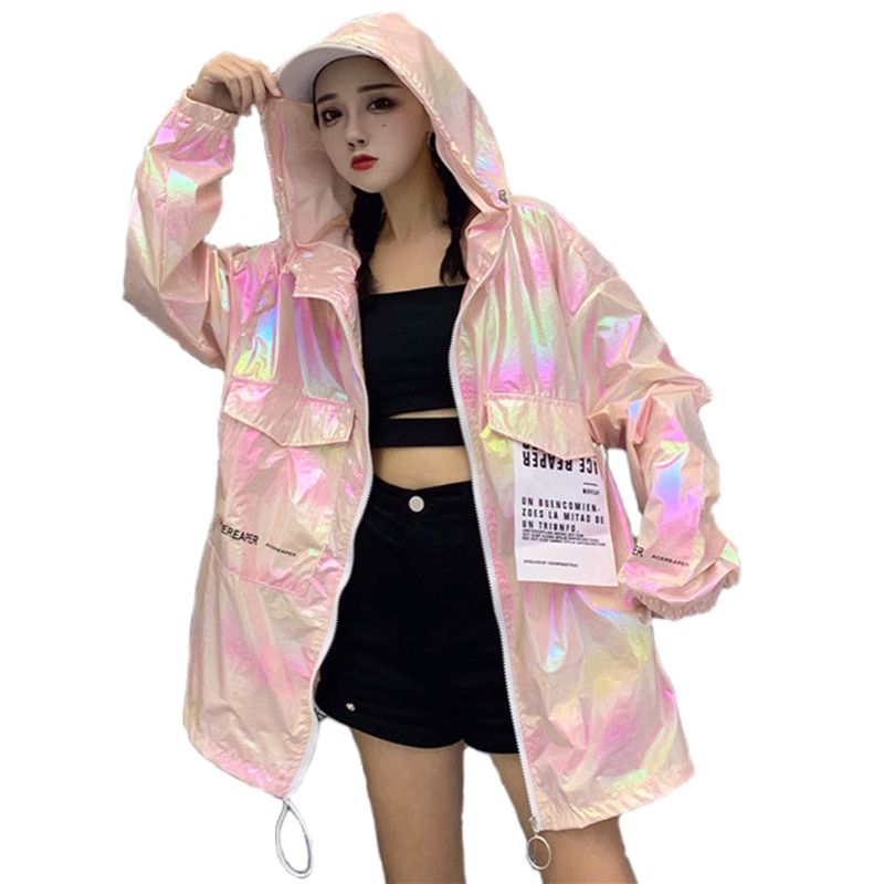 Otoño chaqueta Bomber con capucha mujeres sueltas de plata delgada de verano chaqueta de las mujeres de fluorescencia abrigo de Hip Hop de talla grande abrigo de manga larga