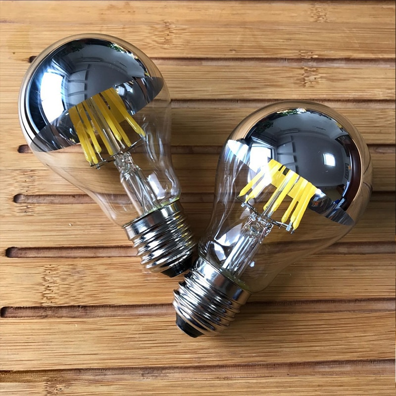 Bombilla E27 led Cob 8W ahorro de energía medio plateado bombilla LED 230V frío/blanco cálido A60 regulable bombilla de filamento led