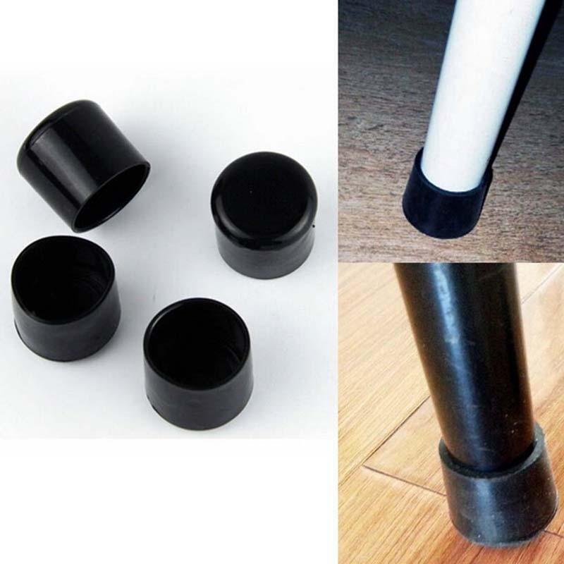 4pcs/set 16mm Chair Leg Caps PVC Plastic Feet Protector Pads Furniture Table Covers Round Bottom Black