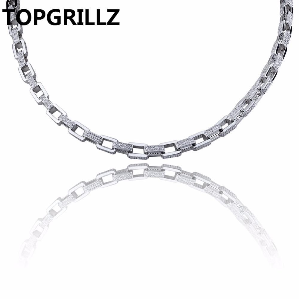 TOPGRILLZ-قلادة هيب هوب للرجال ، مجوهرات ، لون نحاسي ، ذهبي/فضي ، مايكرو بافيه تشيكوسلوفاكيا ، سلسلة 7 مللي متر ، 18 بوصة ، 22 بوصة