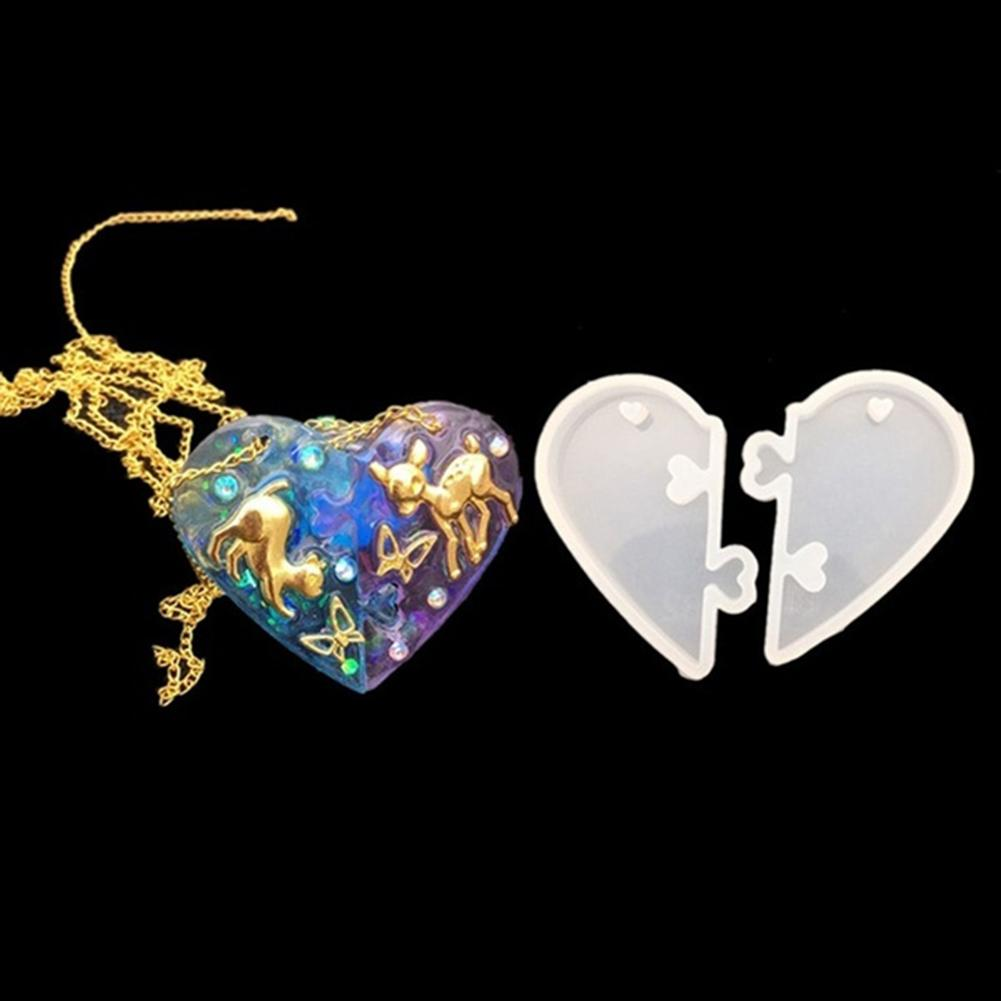 2 unids/set amor forma de corazón de silicona Molde de resina fabricación de joyería DIY colgante artesanal