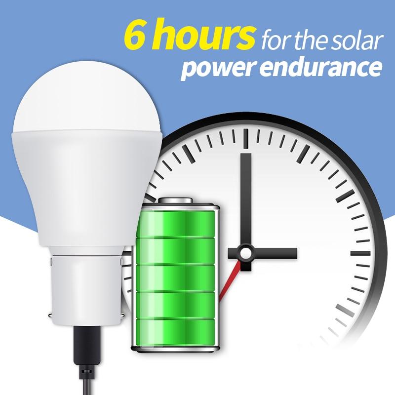 Portable LED Solar Light 15W Led Bulb Light Solar Energy Lamp 5-8V 250LM Outdoor Camping Bulb USB Rechargeable Spotlight 2835SMD