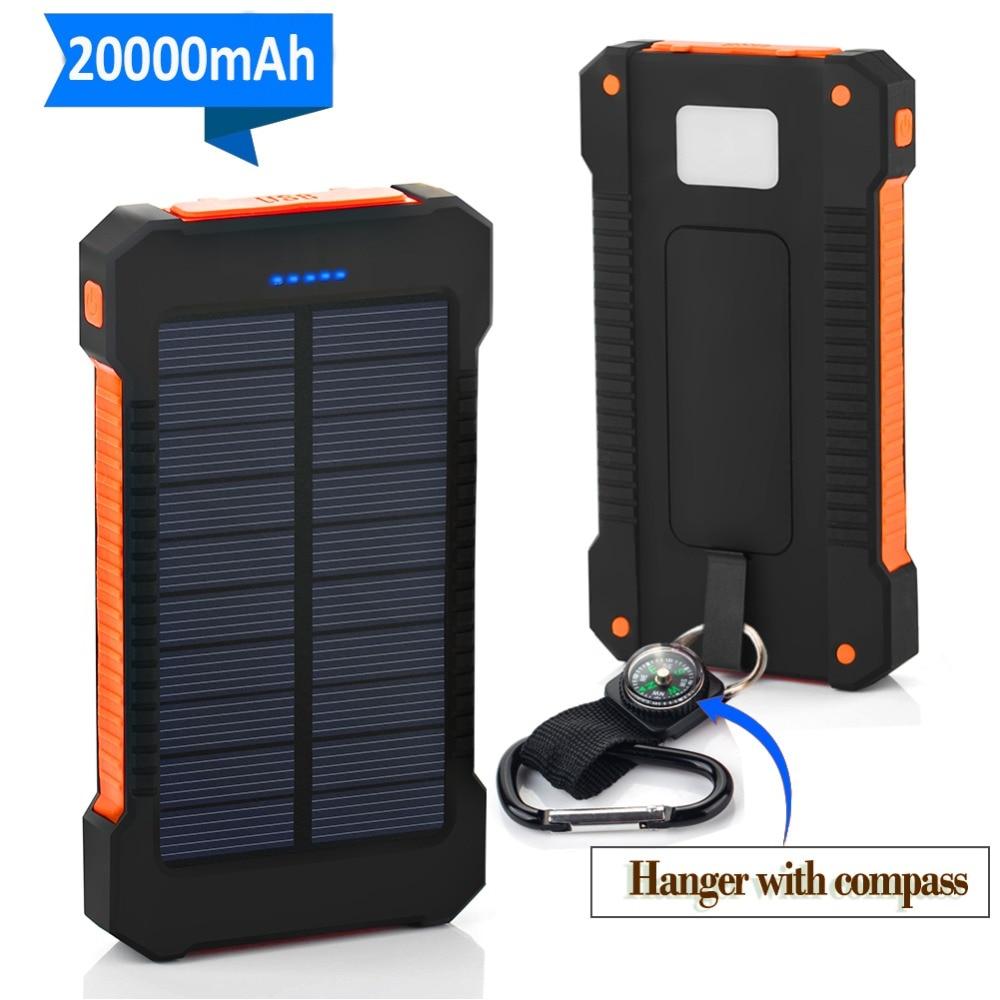20000 мАч портативный внешний аккумулятор повербанк солнечной энергии двойной USB Солнечный аккумулятор для Android iPhone Xiaomi внешний аккумулятор