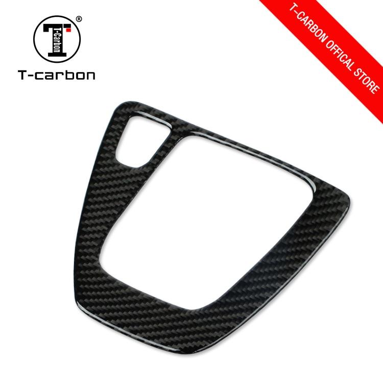 T-CARBON estilo de fibra cubierta de panel de caja de cambios de la etiqueta engomada para BMW E90