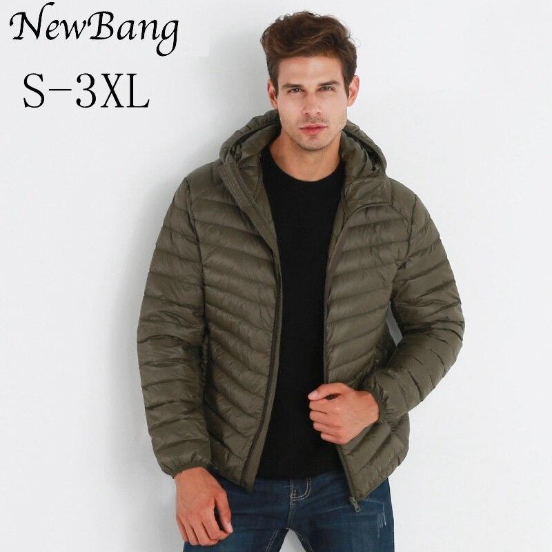 Marca newbang, chaqueta de plumón de pato con Capucha ligera para hombres, chaqueta ultraligera para hombres, abrigo cálido portátil a prueba de viento, Parka de plumas para hombre