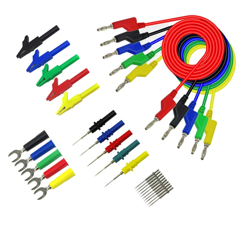 Kit de cable de prueba SHGO HOT-P1036B de 4Mm de Banana a Banana para multímetro de pinza de cocodrilo tipo U y Kit de prueba de pinchazo