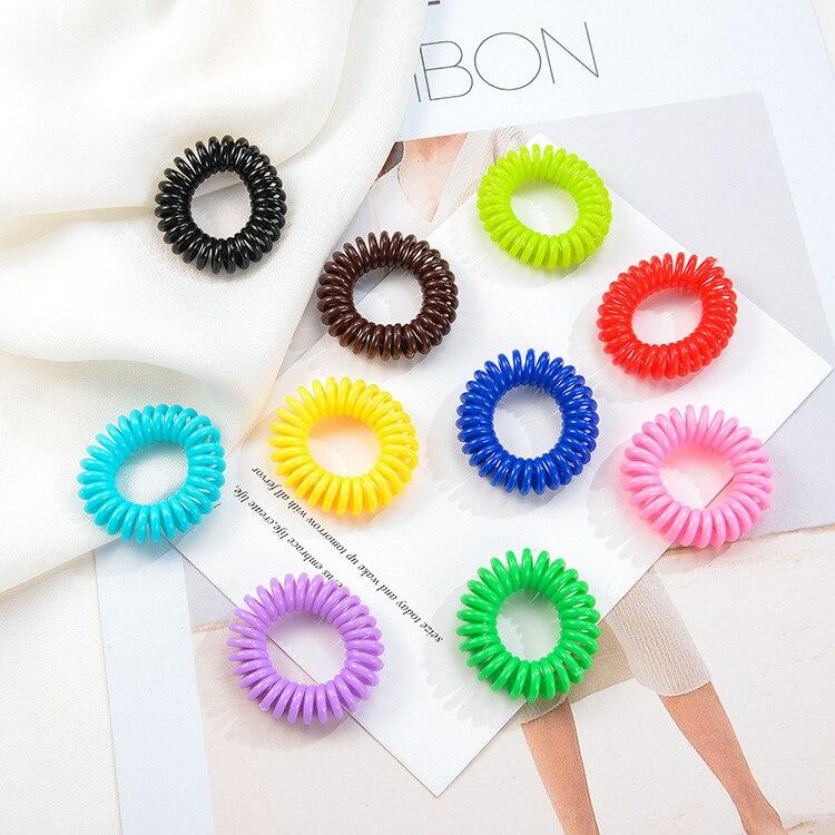 Câbles pour cheveux de ligne de téléphone 2.5 cm   Petits bracelets de cheveux élastiques colorés pour filles, accessoires cheveux gomme pour enfants, 10 pièces/lot
