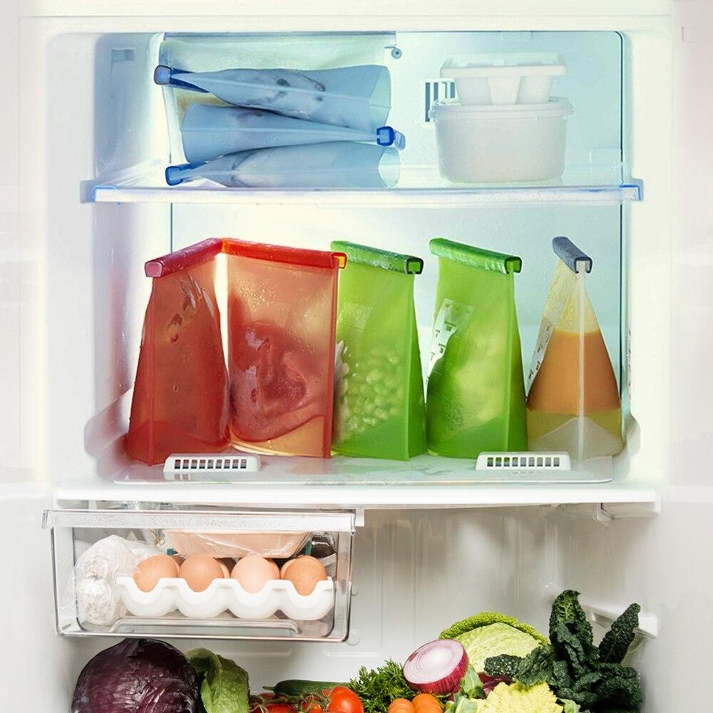 WLMALL 4 قطعة 1000 مللي/1500 مللي حقيبة سيليكون اكياس الغذاء القابلة لاعادة الاستخدام الصفر النفايات قفل طعام حقيبة التخزين الثلاجة الطازجة أكياس