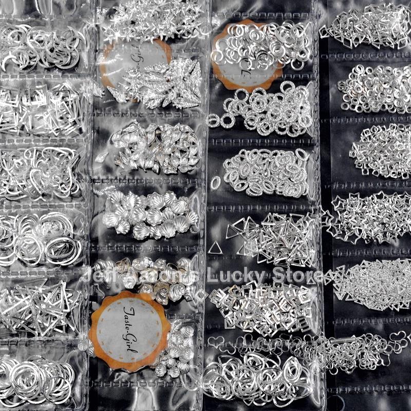 1 упаковка, смешанный 3D DIY полый металлический каркас, украшения для дизайна ногтей, серебристые заклепки, аксессуары для маникюра, летняя оболочка, слайдер, шпильки для ногтей