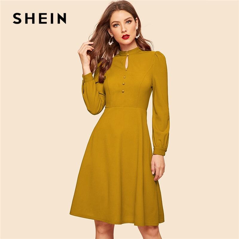 SHEIN Стильное Платье С Пуговицами На Молнии Летнее Одноцветное Платье С Высокой Талией И Рюшами
