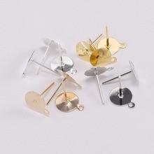 200 pièces/lot 6 8 10 12mm blanc blanc socle plateau plat Cabochon camée paramètres rond Base oreille Post fournitures pour bricolage bijoux résultats