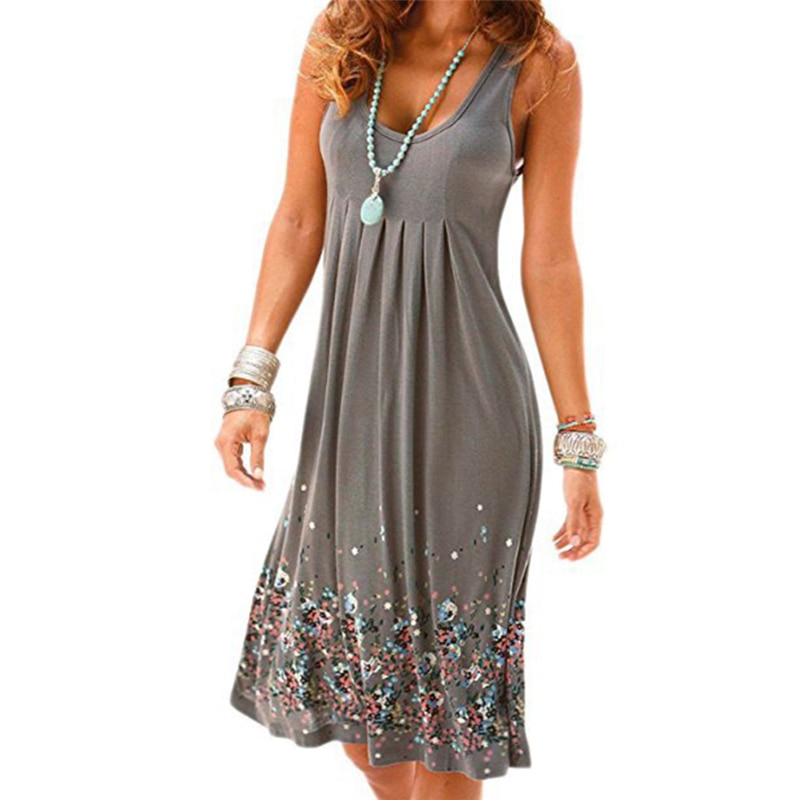 Six Colors Fashion Bohemian Style Women Summer Casual Loose Sleeveless Fold Evening Party Print Short Mini Dress Plus Size 3XL