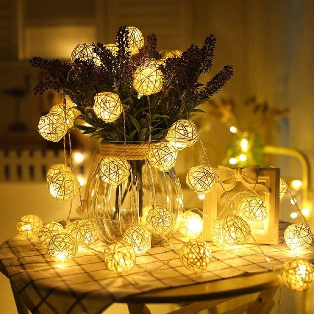 AC110-220V 20/40/100 المصابيح الدافئة الأبيض كرة من السلال LED سلسلة ضوء عيد الميلاد عطلة ضوء ل نافيداد حفل زفاف الديكور