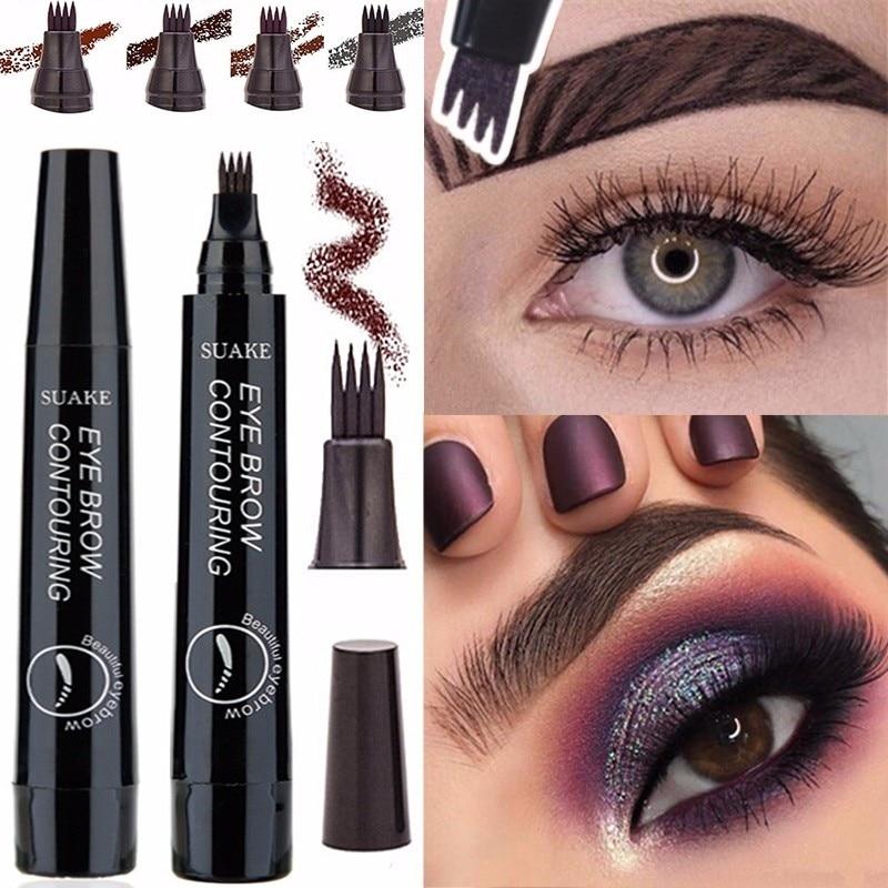 Novice 4 Color Eye brow Makeup Waterproof Four Fork Tip Sketch Ink Liquid Eyebrow Tattoo Tint Pen Enhancer Easy to Use TSLM2