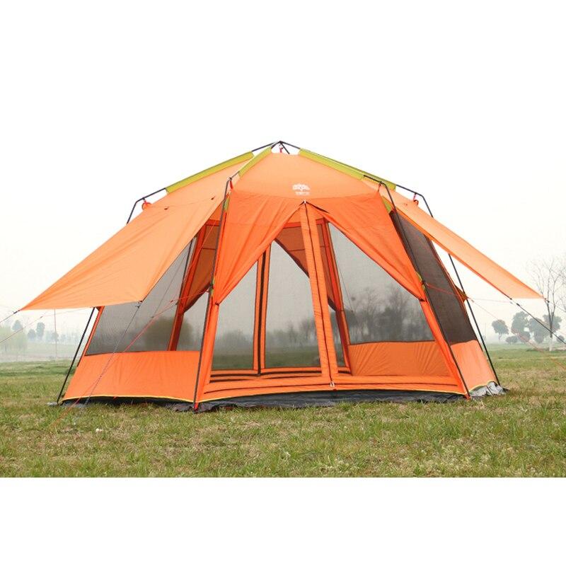 Genuine UV hexagonal outdoor beach double layer shade tent hexagonal hardcore fishing tent large space garden pergola with mat