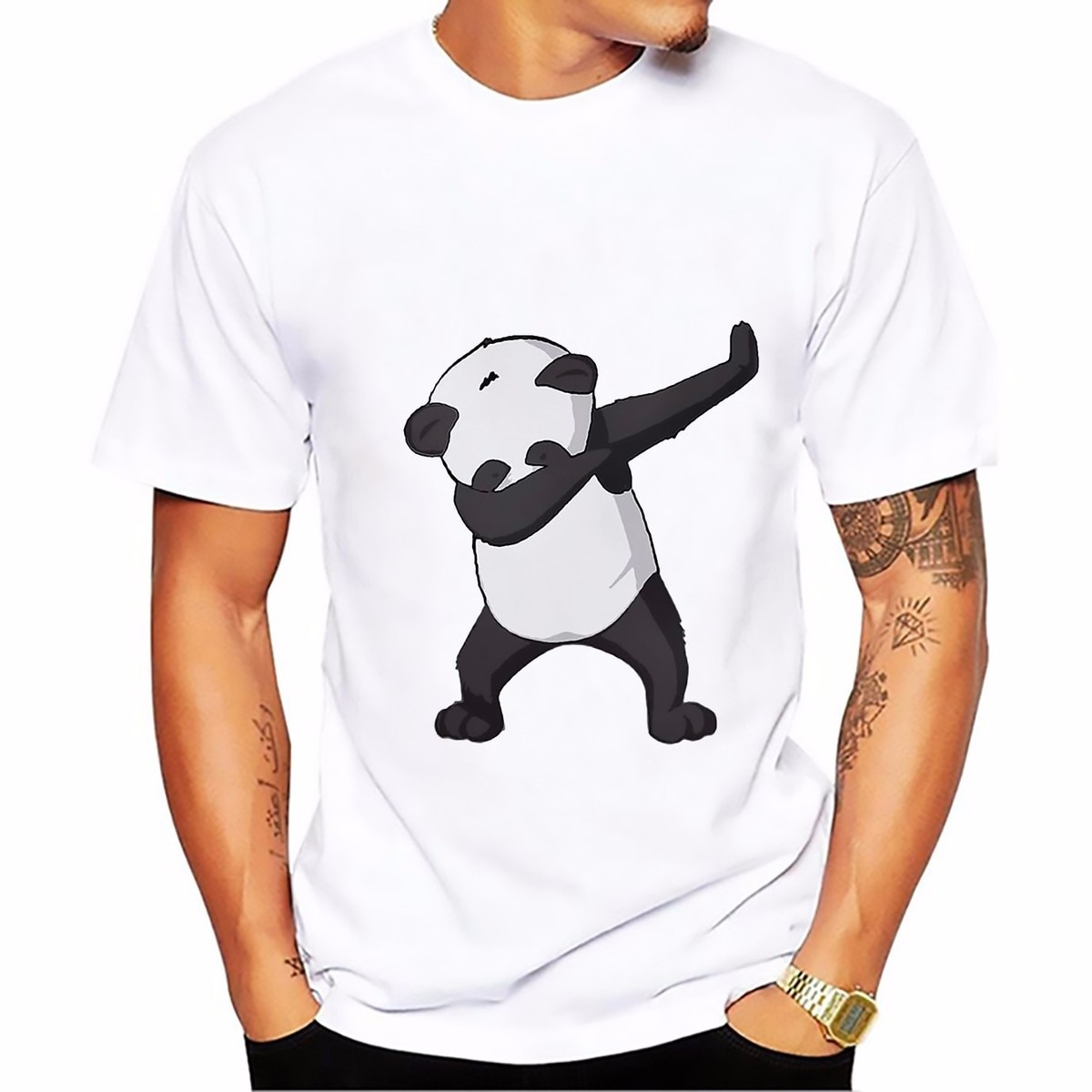 Dab dance panda T Shirt men O-neck Breathable Plus Size tee shirts homme Short Sleeve Casual dabbing