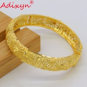 Adixyn Ethiopian Bangles For Women Gold Color Dubai Bangles&Bracelet African/Ethiopian/Arab/Kenya/Middle East Party Gifts N07014