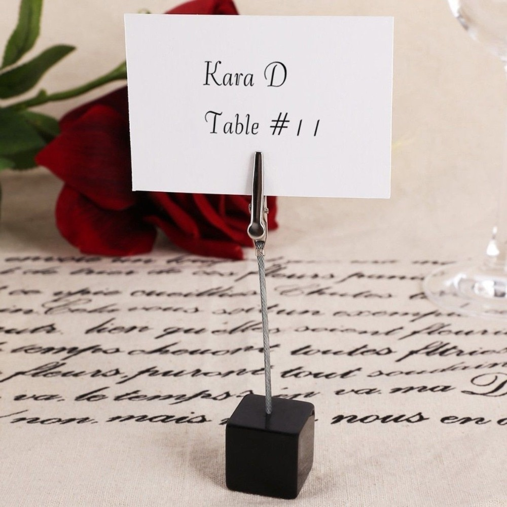 color cube stand alligator wire desk card note picture memo photo clip holder table wedding party place favor personalized gift 10pcs Wedding Place Card Holder Picture Memo Note Photo Name Clip Resin Base