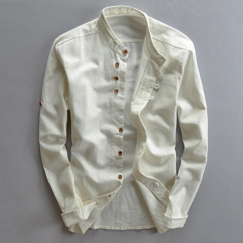 Мужские хлопковые льняные рубашки с длинным рукавом Повседневные облегающие рубашки с воротником «Мандарин», высокое качество, мужские де...
