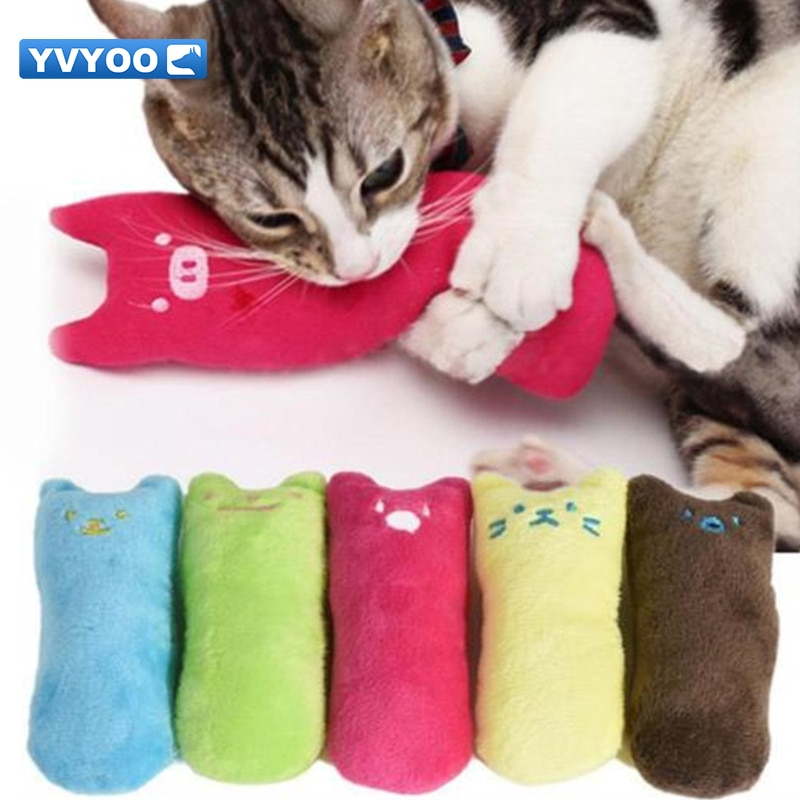 YVYOO  Cute Pet cats Plush Toys Interactive Fancy Pets Teeth Grinding Catnip Toys Thumb Chew Toys Cat mint C08