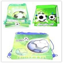 1pcs Green Football Theme Portable Drawstring Bag Football Handbag School Bag Kid Travel Cotton Pouc