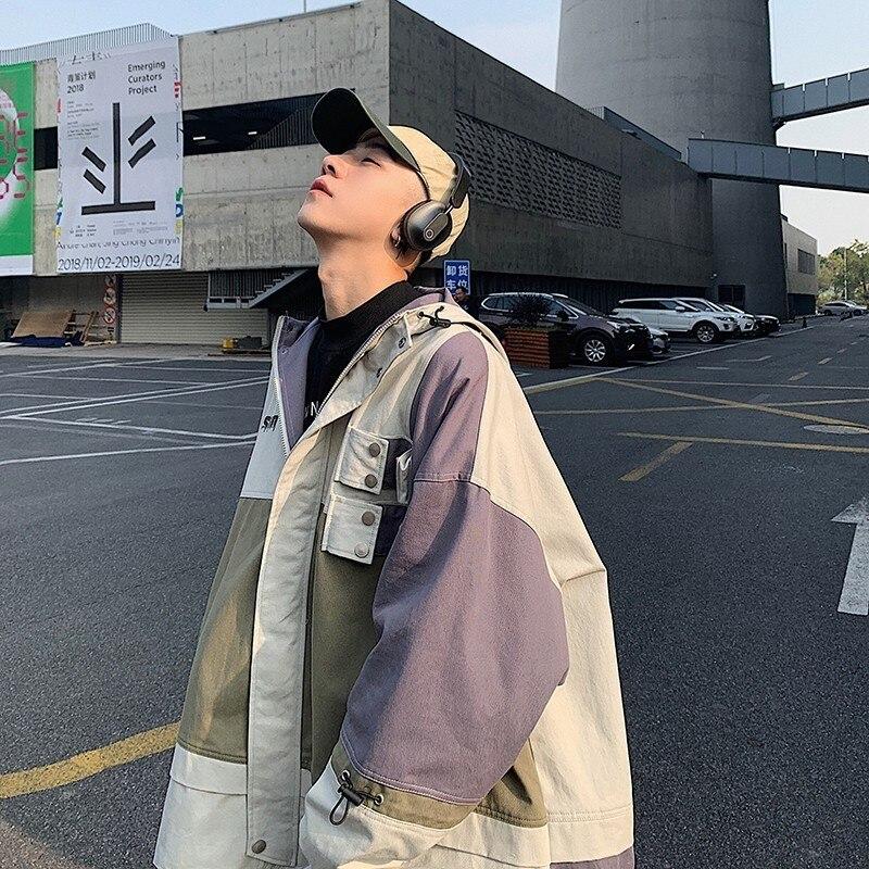 2019 japoneses de los hombres del estilo Streetwear chaquetas Patchwork bolsillos abrigos Retro Harajuku con capucha abrigo rompevientos tamaño M-XL