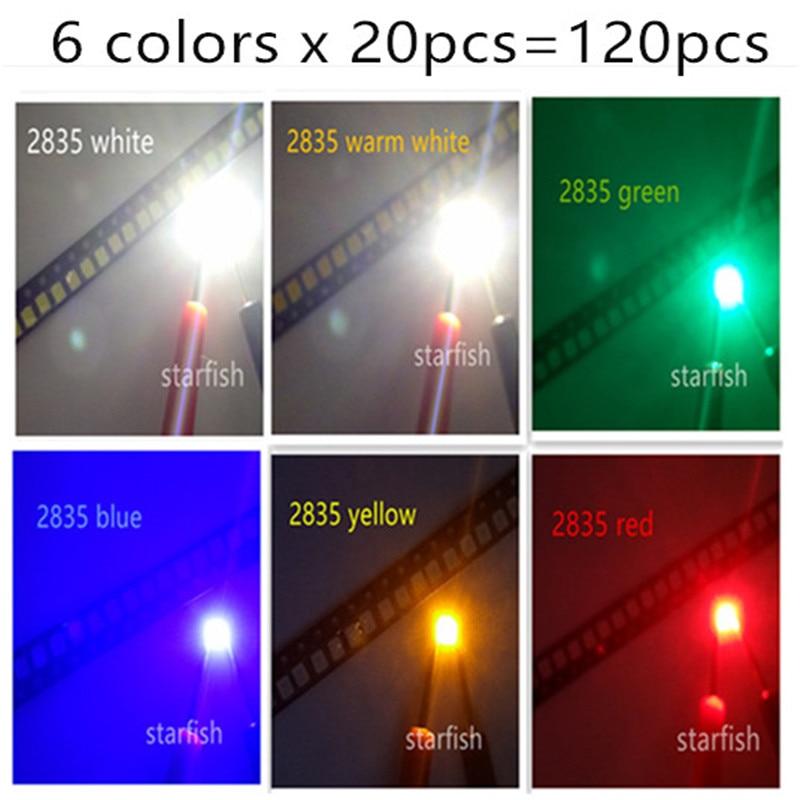 O envio gratuito de 6 cores x 20 pcs = 120 pcs led SMD 2835 branco-W/azul/vermelho/amarelo/verde/branco quente-WW lâmpada