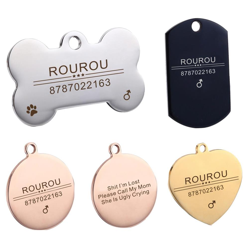 personalized pet id tag dog cat nameplate aluminum collar accessories free customized engraving tags Free Engraving Pet ID Tag Stainless Steel Dog Cat Name Tags Collar Accessories Pendant Customized,Silver Gold Rose gold Black
