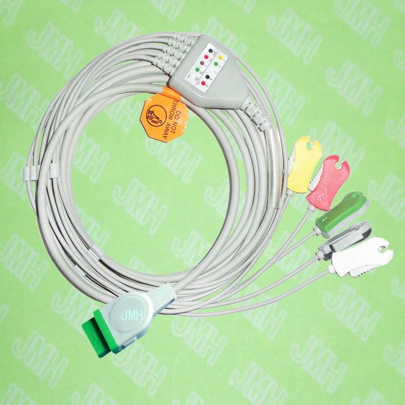 Compatible con máquina de ECG GE Marquette de 11 Pines, cable ECG de una pieza y cable de plomo con clip de plomo de 5, IEC o AHA.