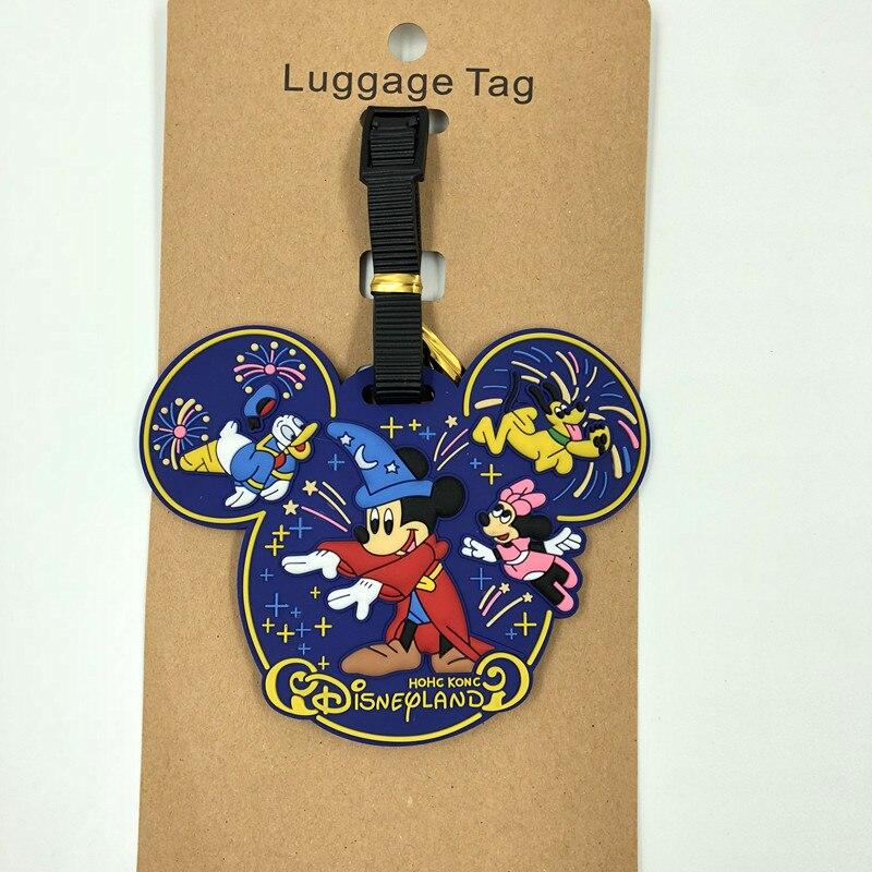 Etiqueta de viaje de Mickey Mouse de dibujos animados de Disney, etiqueta de viaje, Minnie, Maleta, soporte de documento de identidad, etiqueta de pase de equipaje, colgante de etiqueta portátil