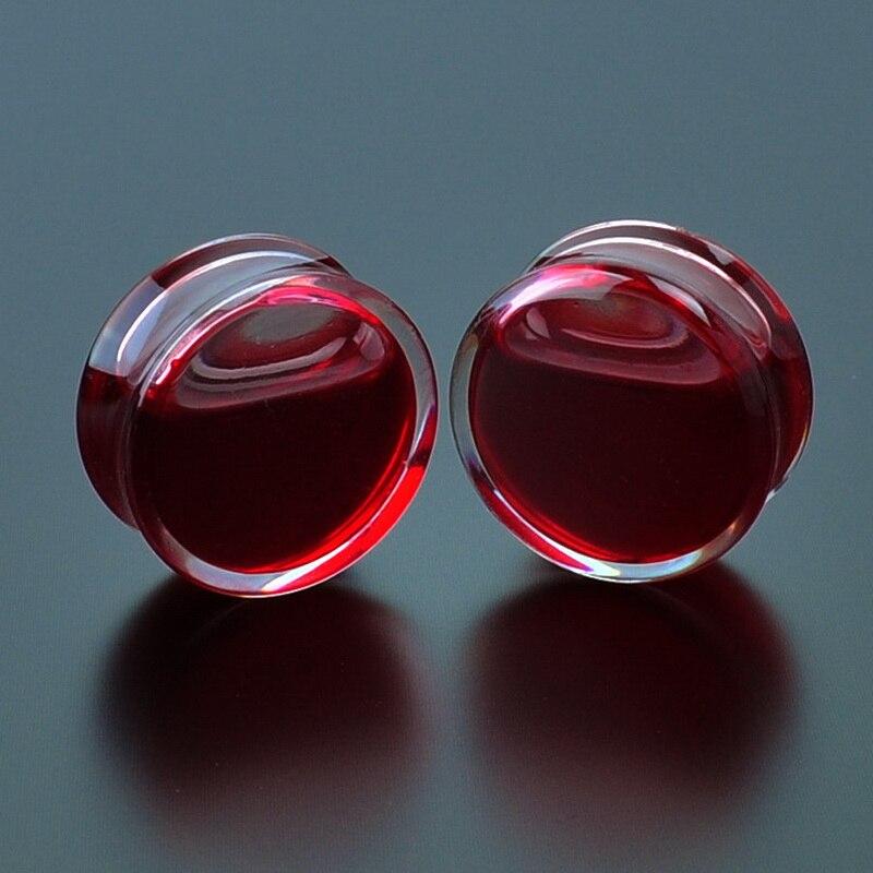 1Pair Red Liquid Blood Ear Gauges Acrylic Ear Plugs and Tunnels Earrings Gauges Piercing Oreja Expander Body Piercing Jewelry