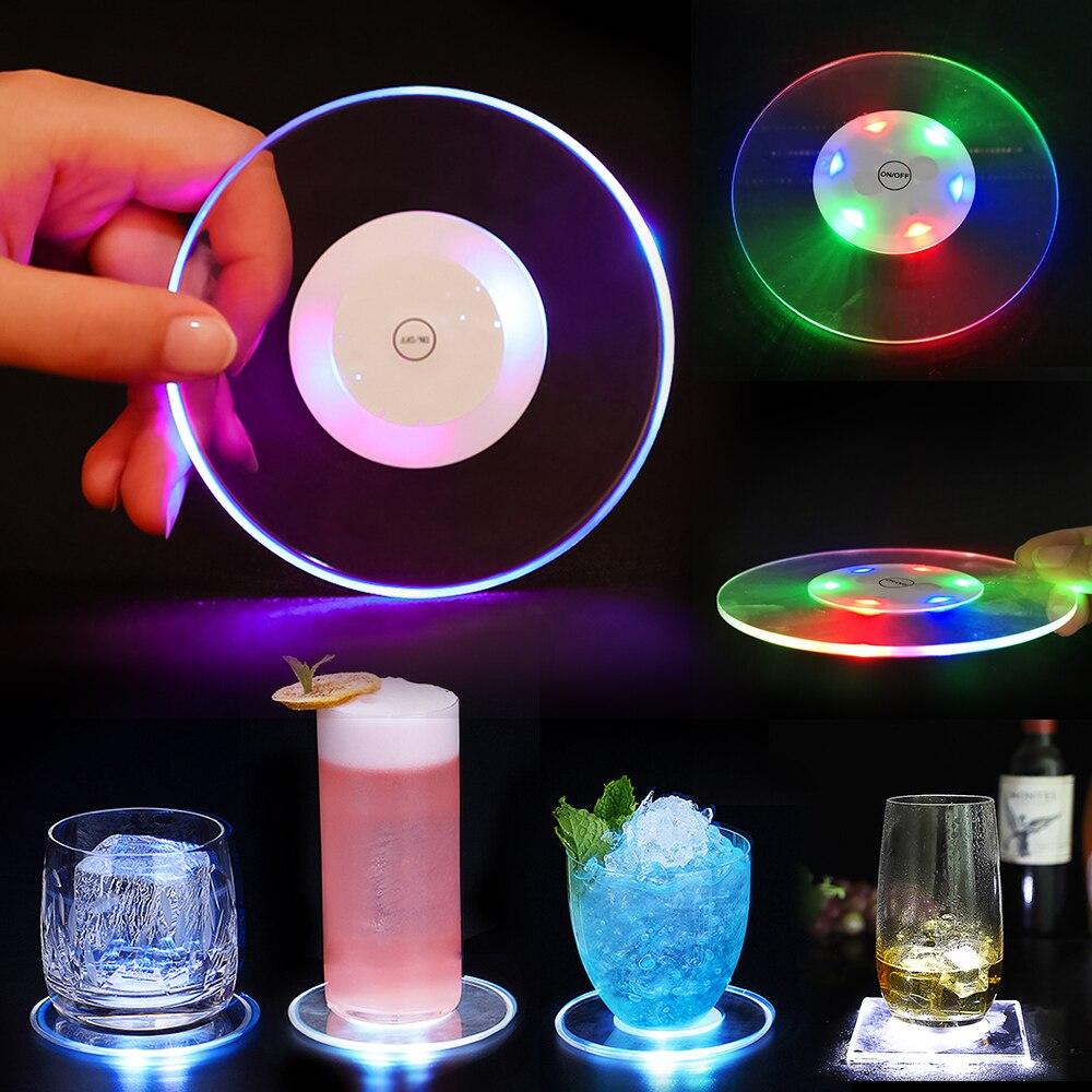 Posavasos de cristal acrílico ultrafino con luz Led, posavasos para cóctel, posavasos luminosos, lámpara Base de iluminación para Barra de barman