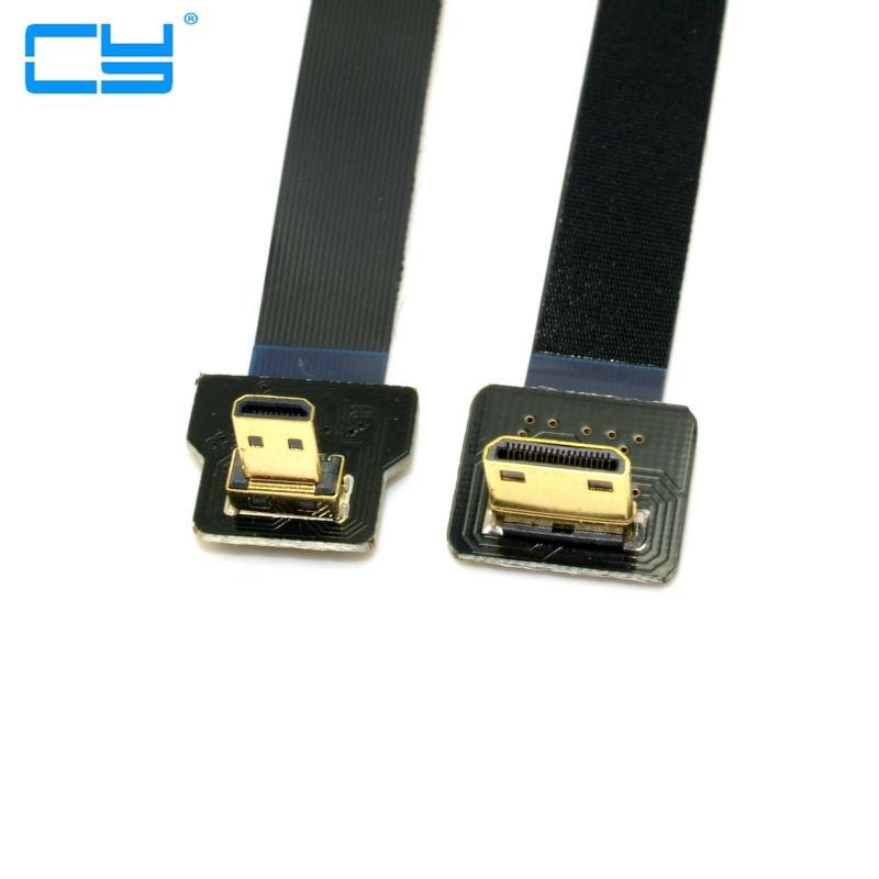 20 cm FPV 90 grados Micro HDMI Macho para Mini HDMI FPC Cable plano párr GOPRO de Multicopter Fotografia Aerea