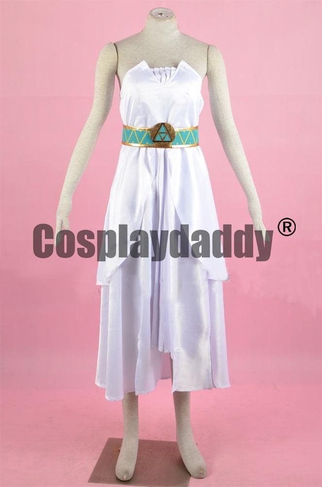 La leyenda de Zelda Breath of The Wild princesa Zelda diosa-sangre princesa vestido blanco disfraz Cosplay F006