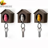 cute bird nest sparrow house key chain keyring plastic whistle wall holder fashion cute bird shape key chains